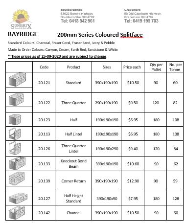 Bayridge prices page 1