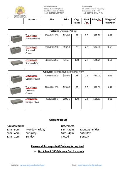 Apex Pavers prices page 2