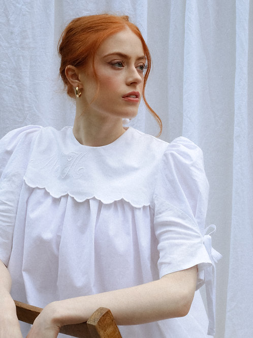 THE NORA BLOUSE - WHITE EMBROIDERED