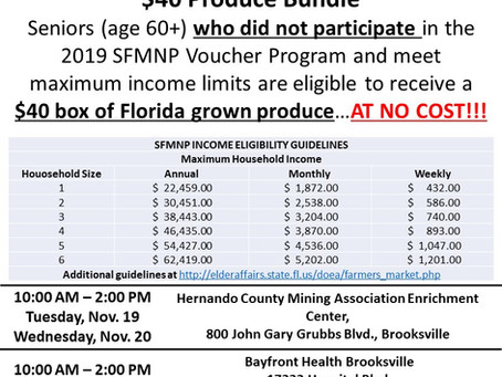 Senior Farmers Market Nutrition Program $40 Produce Bundle