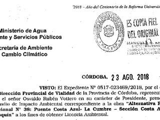 Copia de la licencia ambiental a la autovía Pedemontana Res. 374