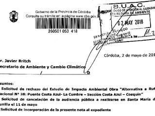 El Foro Ambiental Córdoba solicitó formalmente el rechazo del Estudio de Impacto Ambiental de la aut