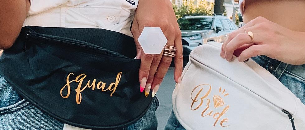 bride + squad fanny packs
