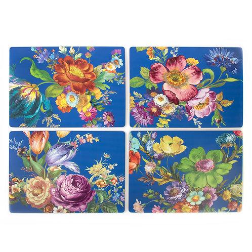 flower market lapis cork back placemats - set of 4