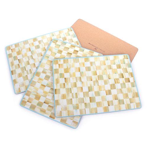 Parchment Check Cork Back Placemats - Set of 4