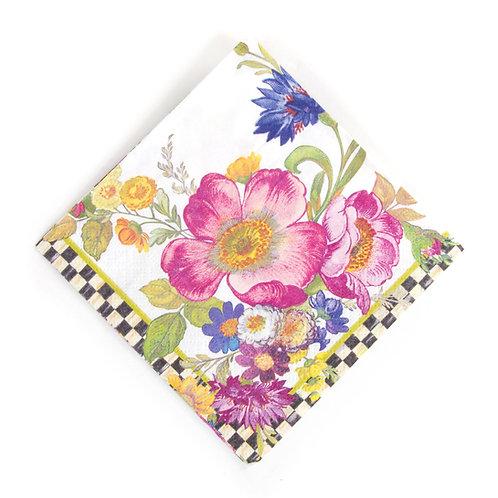flower market paper napkins - cocktail - white