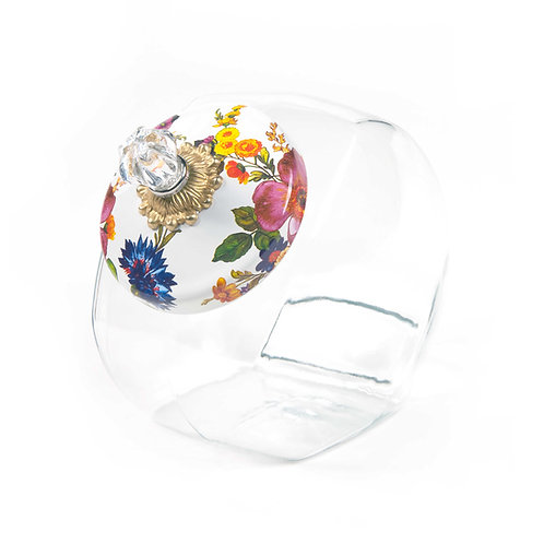 Cookie Jar with Flower Market Lid - White
