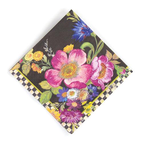 flower market paper napkins - cocktail - black