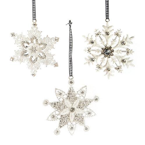 silent night snowflake ornaments - set of 3