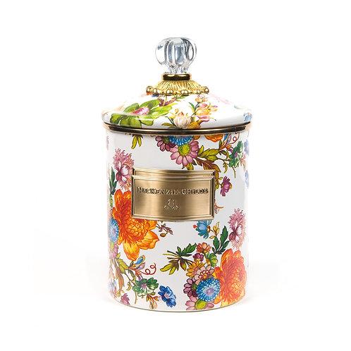 flower market medium canister - white
