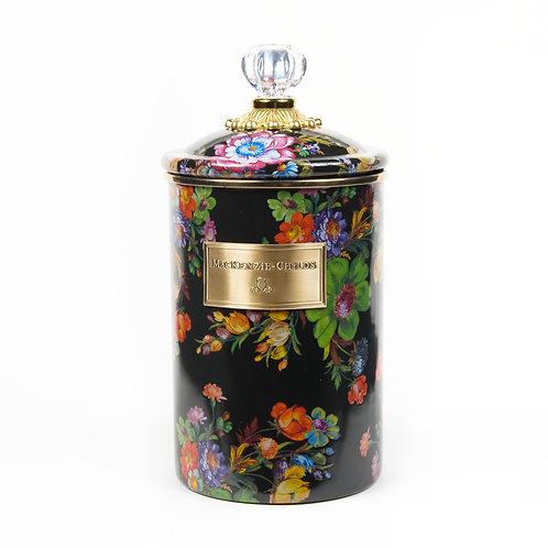 flower market large canister - black