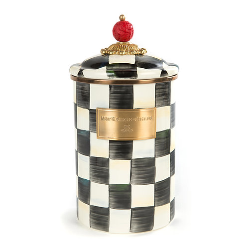 courtly check enamel canister - large