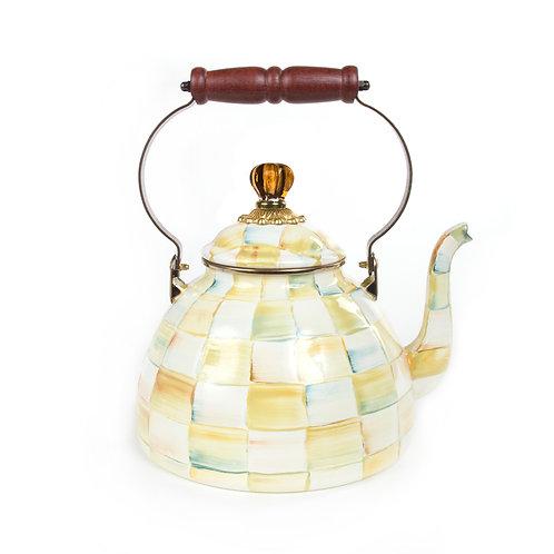 parchment check enamel tea kettle - 3 quart