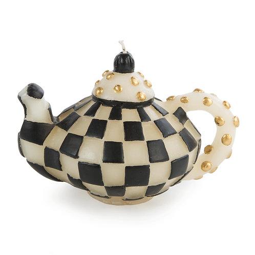 check teapot candle - black