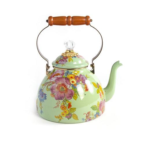 flower market 3 quart tea kettle - green