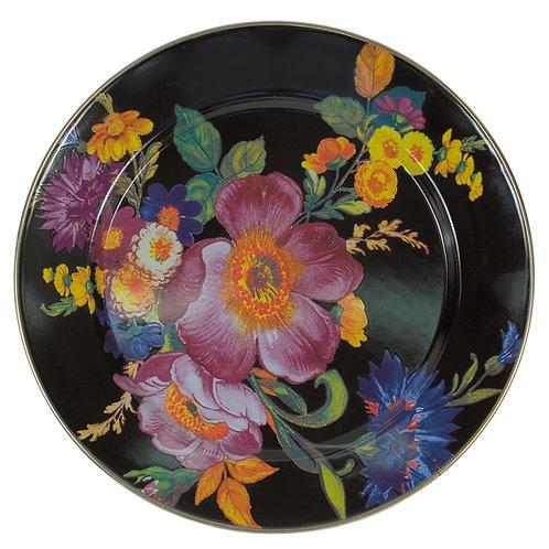 flower market charger/plate - black