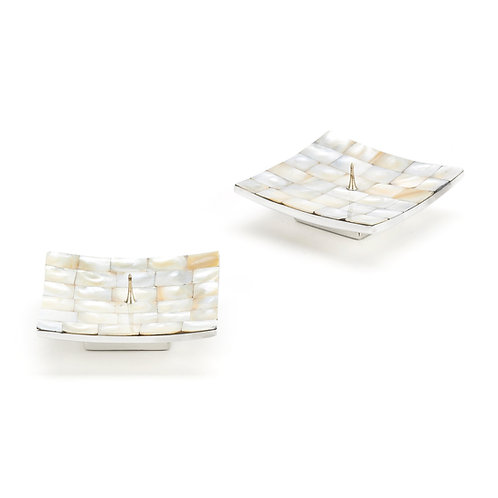 mother of pearl candle holders - square - set of 2