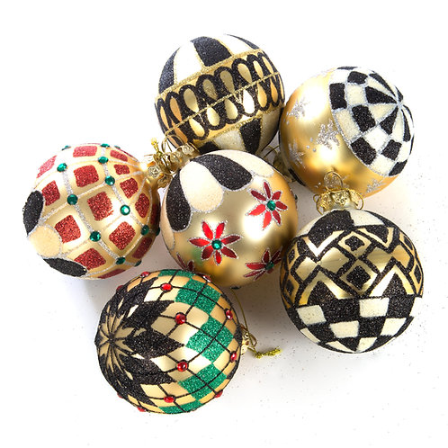 Black and Gold Ball Ornaments - Set of 6