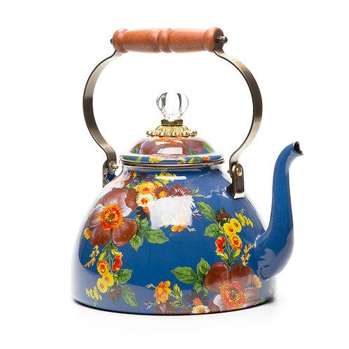 flower market tea kettle - 3 quart - lapis