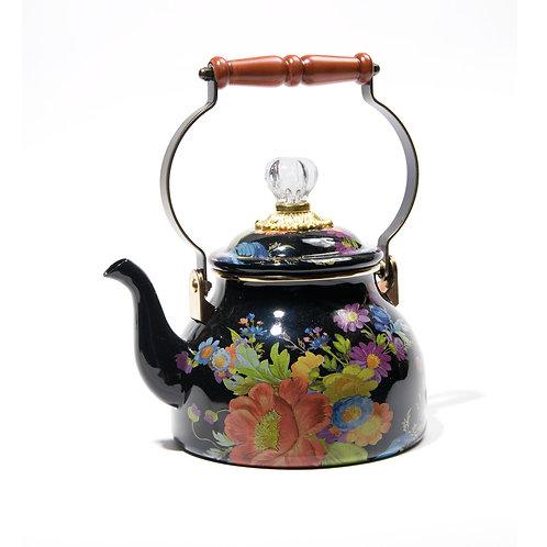 flower market 2 quart tea kettle - black