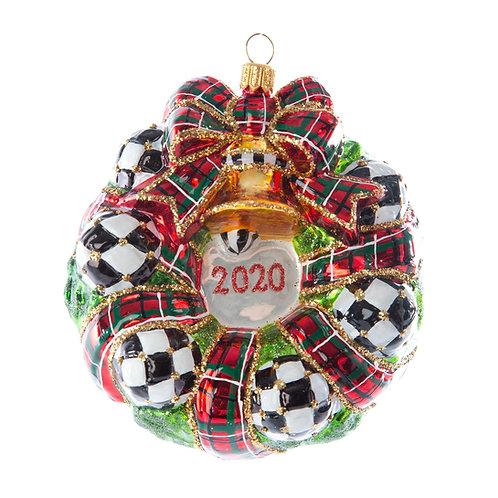 glass ornament - night cap cardinal dated wreath