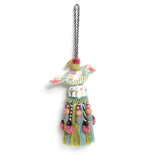 ceramic bird tassel - harlequin