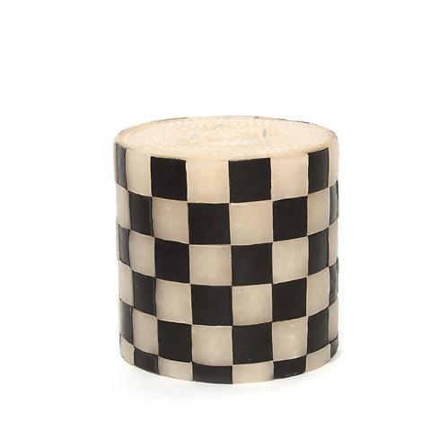 checker pillar candle - 5' - black & white