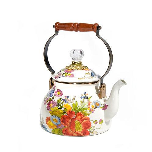 flower market 2 quart tea kettle - white