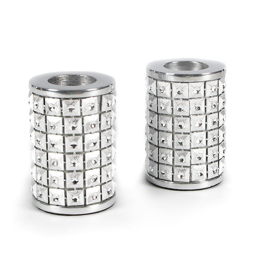 studded candle holders - silver - set of 2