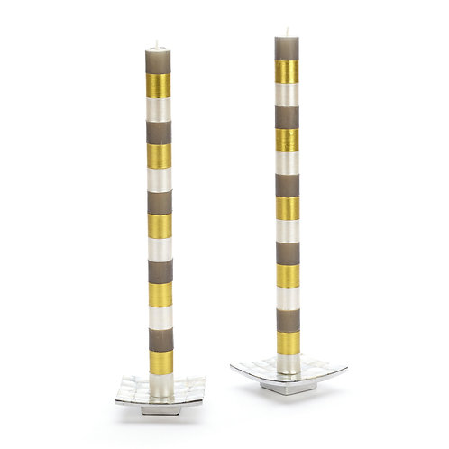 multi bands dinner candles - grey & gold - set of 2
