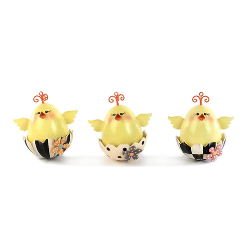 chick ornaments - set of 3