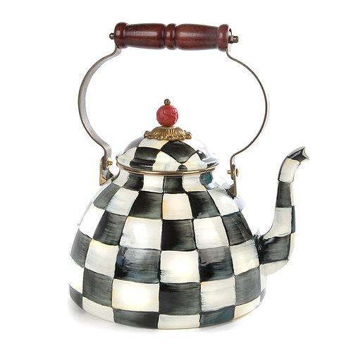 courtly check enamel tea kettle - 3 quart