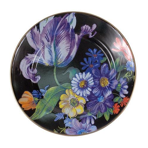 flower market dinner plate - black