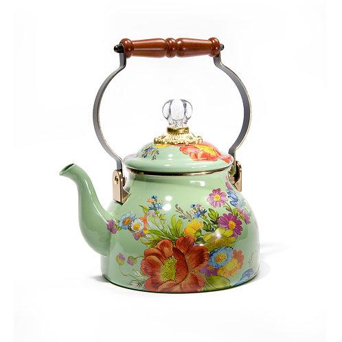 flower market 2 quart tea kettle - green