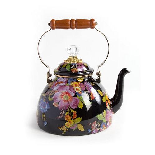flower market 3 quart tea kettle - black