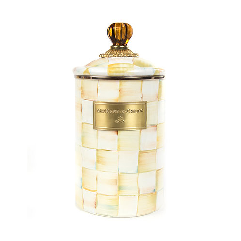 parchment check enamel canister - large