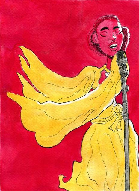 """Moonlit Yellow Dress, Red Background Singer"""
