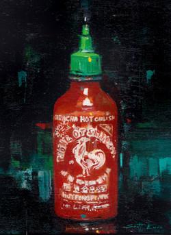 Bottle of Sriracha (Rooster Sauce)