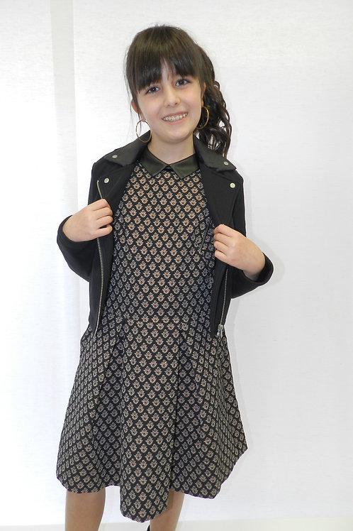 Robe-patineuse noire jacquard effet brocart copper fille