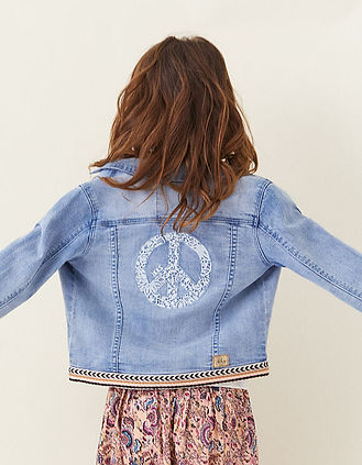 IKKS-VESTE EN JEAN LIGHT BLUE BRODEE PEA