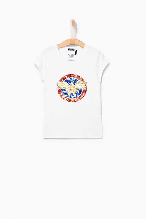 Tee-shirt Wonderwoman blanc avec logo W fille
