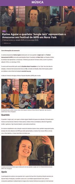 Karine Aguiar e quarteto 'Jungle Jazz' representam o Amazonas em Festival de MPB em Nova York
