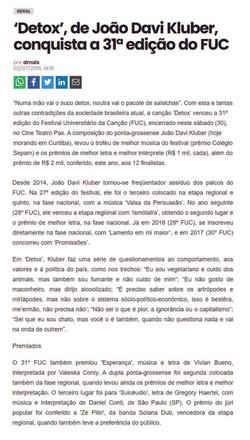 [2018] 'Detox', de João Davi Kluber, conquista a 31ª edição do FUC
