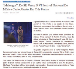"""[2018] """"Malungos"""", De SP, Vence O VI Festival Nacional De Música Canto Aberto, Em Três Pontas"""