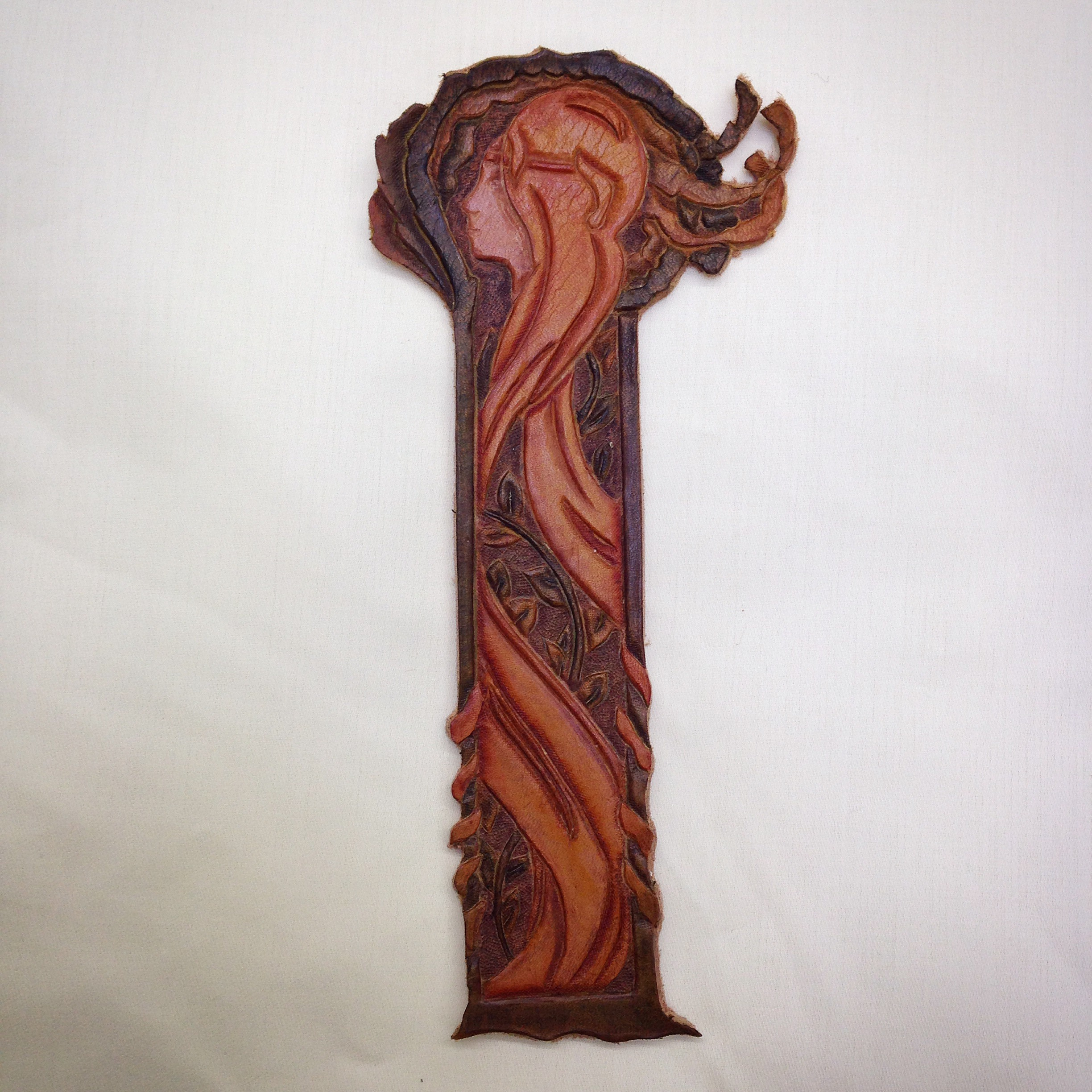 Tooled leather bookmark