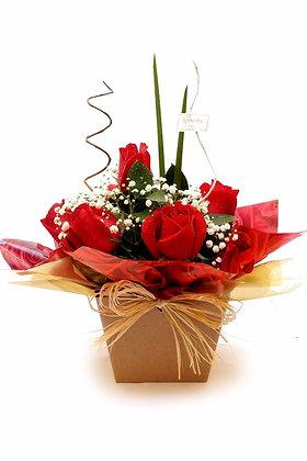 Arranjo de 7 rosas vermelhas