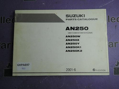 2001-6 SUZUKI AN250 PARTS CATALOGUE 9900B-28038-040