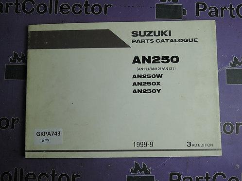 1999-9  SUZUKI AN250 PARTS CATALOGUE 9900B-28038-020