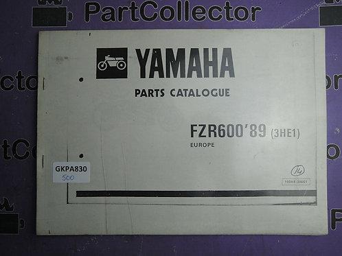 1989 YAMAHA FZR600 BOOK PARTS CATALOGUE 193HE-300E1