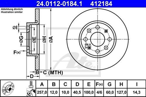 2x ATE 24.0112-0184 BRAKE DISC SET OPEL CORSA FIAT GRANDE PUNTO 412184